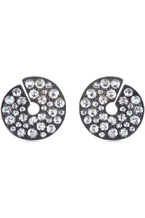 Fred Leighton 18kt rose cut diamond twisted disc earrings