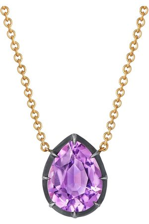 Fred Leighton 18kt yellow pear shaped amethyst collet solitaire pendant necklace