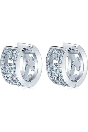 Kwiat Women Earrings - 18kt white gold diamond Jasmine huggie earrings