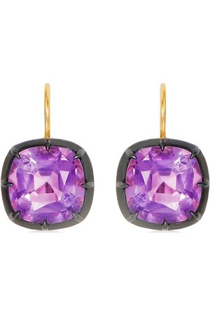 Fred Leighton 18kt yellow cushion amethyst collet drop earrings