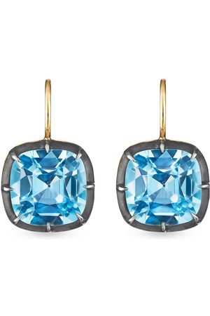 Fred Leighton 18kt cushion topaz collet drop earrings