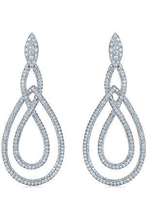 Kwiat Women Earrings - 18kt white gold diamond Twisted Contorno pear drop earrings