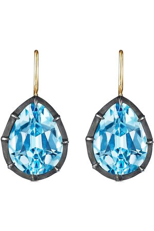 Fred Leighton 18kt and silver Collet drop topaz earrings