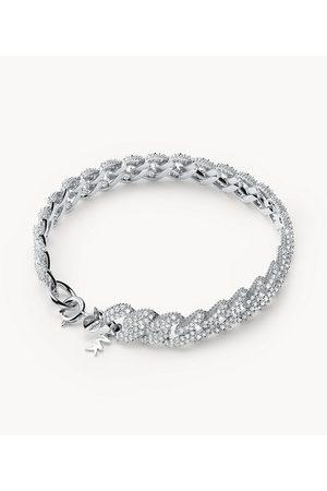 Womens Michael Kors Women's Statement Link Sterling Pavé Curb Chain Line Bracelet