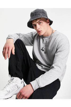 New Love Club Men Hoodies - Embroidered panda sweatshirt in -Grey