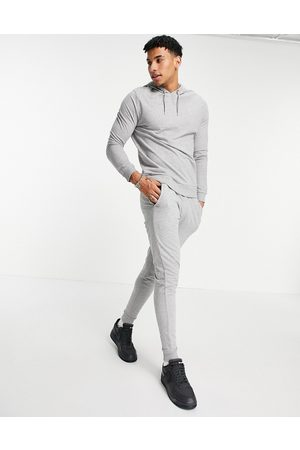 ASOS DESIGN Men Sports Hoodies - Lightweight tracksuit with hoodie and skinny sweatpants-Grey