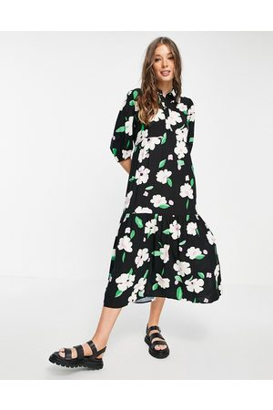 New Look Women Casual Dresses - Collar detail smock shirt dress in ditsy floral