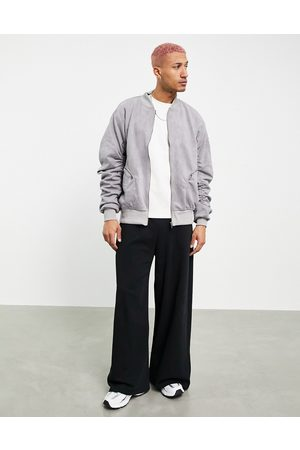 Liquor N Poker Bomber jacket in suede with rouched sleeves-Grey
