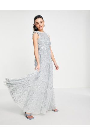 Maya All over embellished maxi dress with lace top in ice blue-Blues