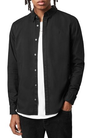 AllSaints Men Shirts - Hawthorne Cotton Solid Regular Fit Button Down Shirt