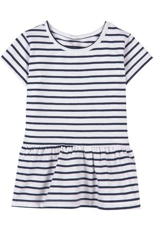 A Happy Brand Ruffle Detail Striped T-Shirt Navy - Unisex - 86/92 cm - Navy - Long sleeved t-shirts