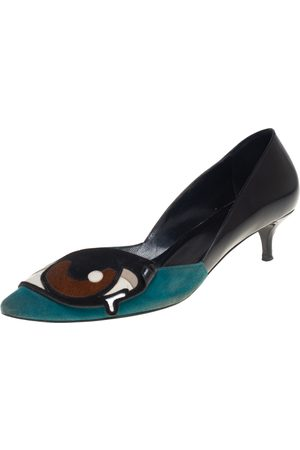 Pierre Hardy Leather and Suede Oh Roy Eye Kitten Heel Pumps Size 38
