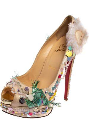 Christian Louboutin Satin 'Make Up Trash' Lady Peep Toe Platform Pumps Size 39.5