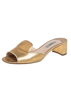 Prada Saffiano Leather Block Heel Slide Sandals Size 38.5