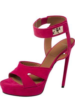 Givenchy Fuchsia Suede Shark Lock Ankle Strap Platform Sandals Size 40