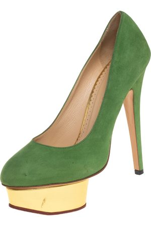 Charlotte Olympia Suede Dolly Platform Pumps Size 36.5