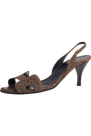 Hermès Leopard Print Suede Night Slingback Sandals Size 37.5