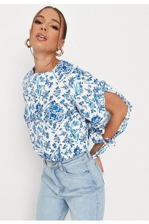 Missguided White Porcelain Print Open Balloon Sleeve Blouse