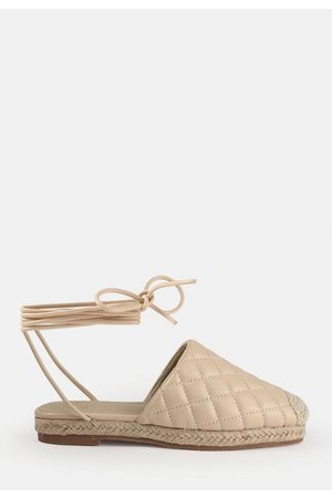 Missguided Sand Quilted Tie Up Mule Espadrilles