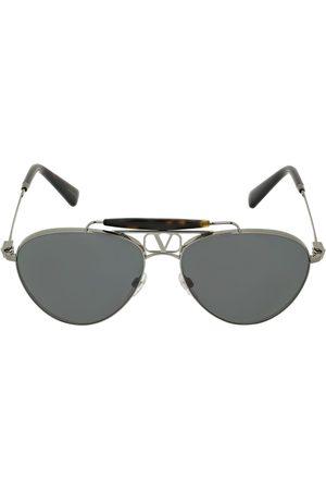 VALENTINO GARAVANI Men Aviators - V Logo Aviator Metal Sunglasses