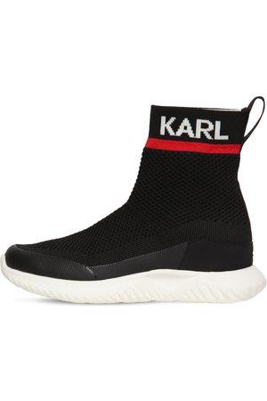 Karl Lagerfeld Girls Flat Shoes - Logo Knit Slip-on High Sneakers