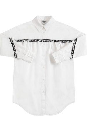Karl Lagerfeld Girls Casual Dresses - Logo Print Cotton Poplin Shirt Dress