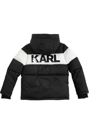 Karl Lagerfeld Girls Puffer Jackets - Logo Print Hooded Nylon Puffer Jacket