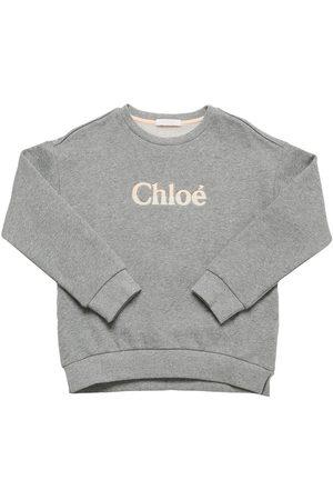 Chloé Girls Sweatshirts - Logo Print Organic Cotton Sweatshirt