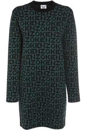 Kenzo Women Party Dresses - Monogram Cotton Blend Knit Mini Dress