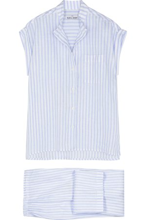 THE SLEEP SHIRT Striped linen pyjama set