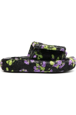 DUOltd Floral print terry slippers