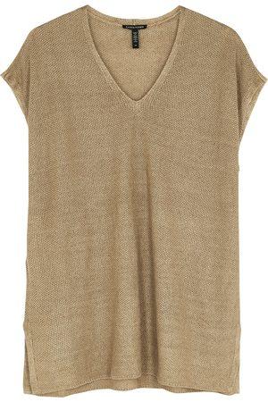 Eileen Fisher Sage textured-knit linen tunic top