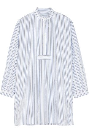 THE SLEEP SHIRT Striped cotton-seersucker nightdress