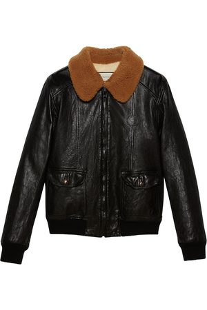 Gucci Shearling collar leather jacket
