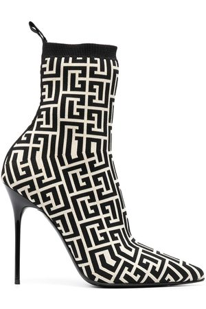 Balmain Women Ankle Boots - Skye stretch knit ankle boots