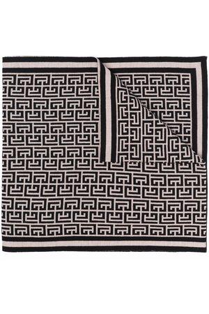 Balmain Monogram pattern scarf - Neutrals