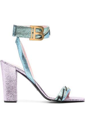 Balmain Women Sandals - Stella 95mm metallic leather sandals