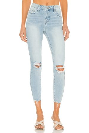 Pistola Audrey Mid Rise Skinny in Blue.