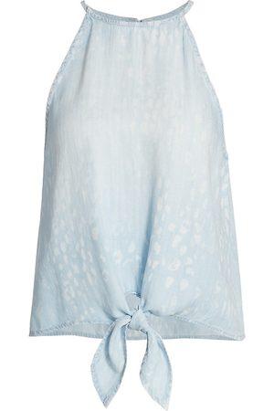 Bella Dahl Women's Tie-Front Halter Top - Animal Spot Denim - Size Large