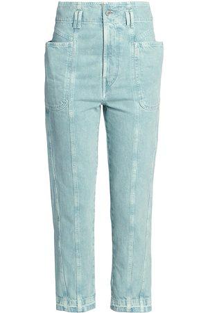 Isabel Marant Women's Tucson Denim High-Waist Cropped Jeans - Celadon - Size 2