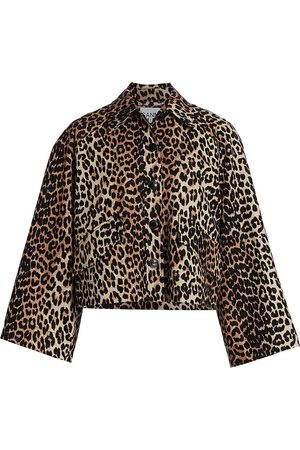 Ganni Women's Linen Canvas Jacket - Leopard - Size 2