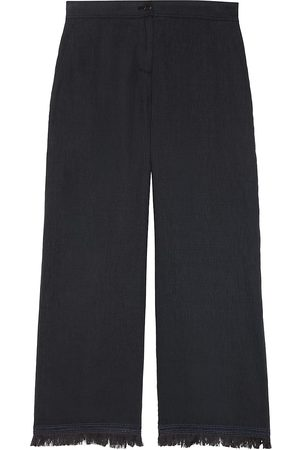 THEORY Women's Embroidered Fringe Linen Crop Pants - - Size 12