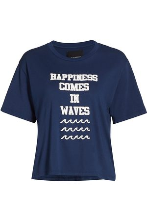 Le Superbe Women's Happiness Comes in Waves T-Shirt - Navy - Size Small