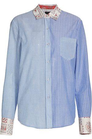 Le Superbe Women's Mixed Stripe/Floral Ex-Boyfriend Shirt - Beach Stripe Multi - Size 10