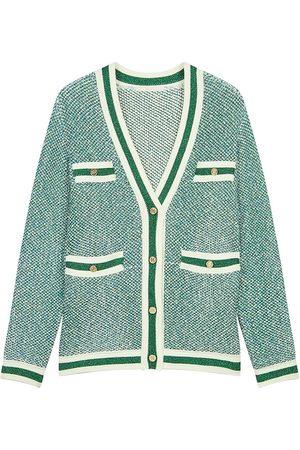 Maje Women's Maitresse Lurex Knit Cardigan - Ecru - Size 3