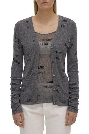 Helmut Lang Women's Logo-Print Wool Cardigan - Heather Grey - Size Large