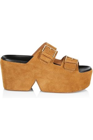 Robert Clergerie Women's Esme Suede Platform Slide Sandals - Wood Crust - Size 11
