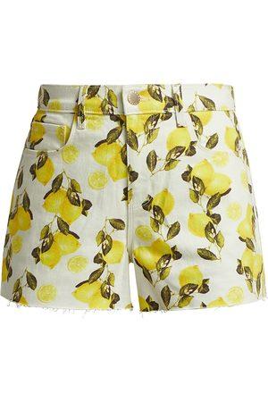 L'Agence Women's Audrey Mid-Rise Lemon Shorts - Ivory Lemons - Size 10