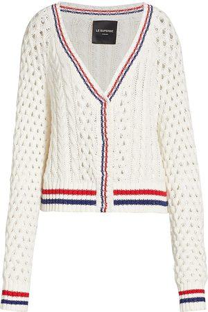 Le Superbe Women's Cashmere-Blend Cable-Knit Cardigan - - Size Large