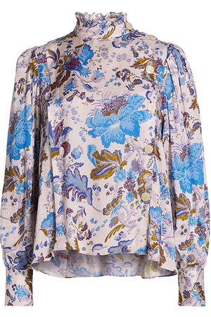 Isabel Marant Women's Backal Floral Asymmetric Button Blouse - Ecru - Size 8